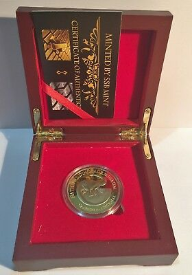 """""""Dinosaur Museum"""" Canberra, 1 oz Coin Finished in 999 24k Gold in Display Box"""