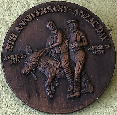 75th Anniversary ANZAC Day Simpson & His Donkey April 1915-1990 Brooch