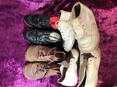 "Antique/Vintage Leather Baby Shoes/Boots - All Approx 6"" (13Cm)  Long Soles 1950"