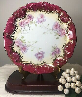 """Antique Nippon Scalloped Moriage Hand Painted Pink Magenta Roses Gold Plate 7.5"""""""