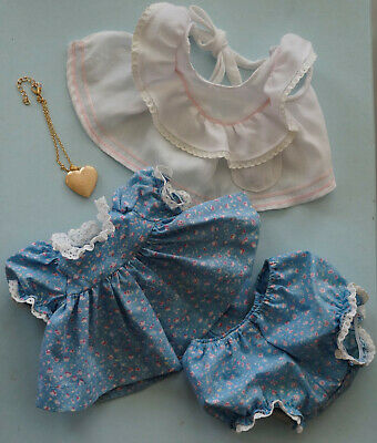 Mattel My Child Doll Original Outfit Blue Floral Dress Pinny & Panties Heart