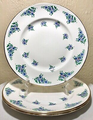 3 Royal Victoria Fine Bone China England Blue Purple Pink Floral Gold Plate 8.5""