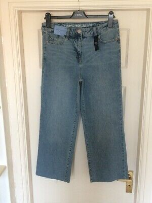 Bnwt Next Sz 12 R Blue Ankle Wide Leg Mid Rise Crop Stretch Jeans New Cropped