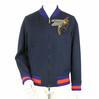 GUCCI Casual Jacket Bee Wool Navy Size 46 MEN 90065576