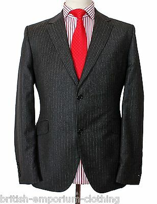 Holland Esquire Dark Grey FLANNEL WOOL Pinstripe Suit & FREE SUIT BAG UK40 EU50