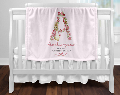Personalised Baby Blanket Newborn Gift  Keepsake Pink Peter Rabbit Birth Stats