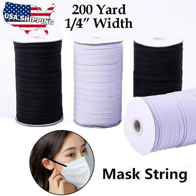 1/4 Inch KNITTED ELASTIC Band for Face Cover 200 Yards Sewing Cord String 6mm