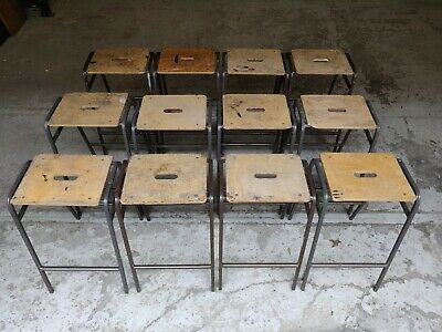 Vintage Stacking School Lab Stools by Remploy - Cafe Bar - 25 Available