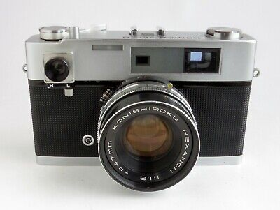 Konica Auto S 35mm Rangefinder Film Camera Hexanon 47mm f1.9 Lens Works - AS IS