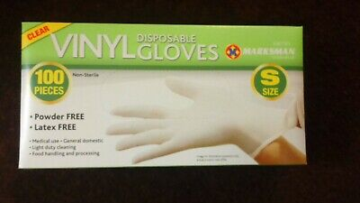 100 S Clear  Vinyl Gloves Latex Free Disposable Medical Food Rubber