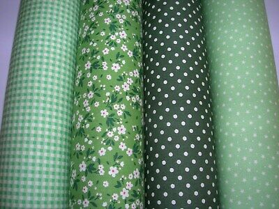Green X 4 Fat Quarter Fabric Bundle 100 % Cotton Fabric Craft/Quilt Gnr