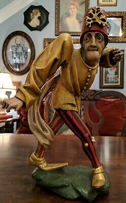 VINTAGE ANTIQUE Wood Carved Painted MORRIS DANCER Jester BEAUTIFUL PATINA 14""