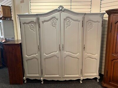 Beautiful Painted French Louis XV Style Quadruple Wardrobe / Armoire