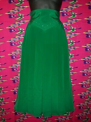 Genuine Vintage 80s Green Polyester Skirt with Pleats Approx Size 8-10