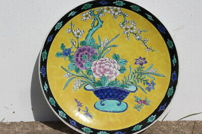 Large Chinese Qing Dynasty Famille Rose Porcelain Charger SIGNED