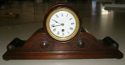 "Antique P.W. Taylor French ""time only"" mantel clock, runs well, mahogany case"