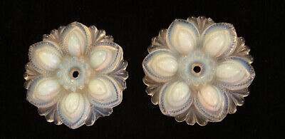 2 Antiques Opalescent Pressed Glass Curtain TieBacks Vintage Sandwich Tie Backs