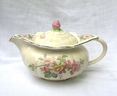 Taylor Smith And Taylor Wild Rose Teapot 649 Pink White Flowers Platinum 1930s