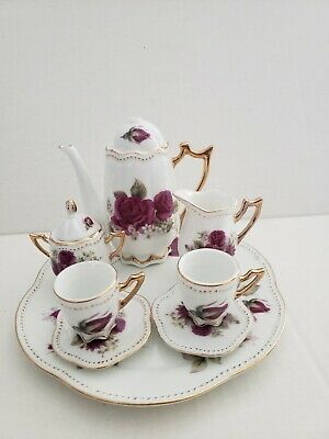 Miniature Tea Party Set Service 10 pc ROSE
