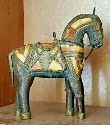 "8""--Antique Vintage Hand Carved Wooden Horse Statue Inlaid Tile Brass Copper"