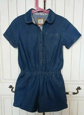 Mini Boden Age 9-10 Playsuit Chambray Denim shorts Jumpsuit