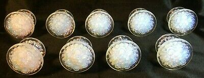 "Lot 9 Large 2""+ Dia 19Th Century Opalescent Sandwich Glass Rosette Drawer Pulls"