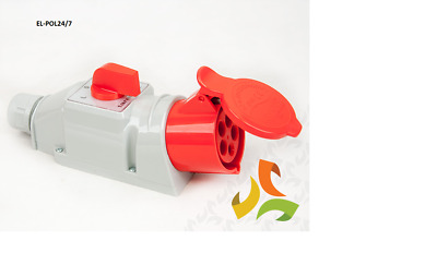 32A 400V  5 Pin Wall Socket Red 3P+N+E 3 Phase  IP44 - with phase rotation L-0-R