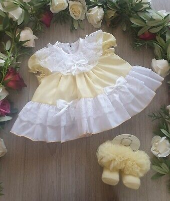 Baby Girls Frilly  Spanish Dress Lemon  With Lace Trim Fully Lined