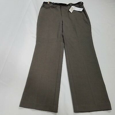 Charter Club womens tummy slimming trouser pants size 12 gray taupe career new