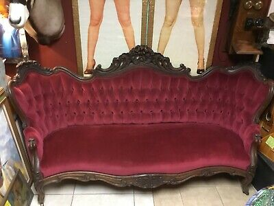 Antique 1860s Victorian Rosewood Sofa Couch. Beautiful And Stunning! Seven Feet.