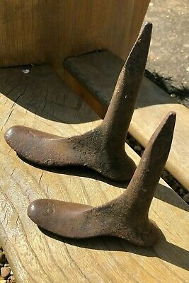 2x Cast Iron Antique Old Cobblers Shoe Lasts Small Childs
