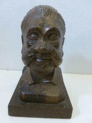 "Vintage Wooden Hand Carved Bearded Man 5 1/4"" Miniature Head Bust"