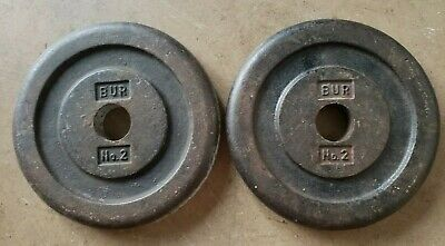 Two Rare 5 lb VINTAGE Bur Barbell Standard weights plates pair home gym