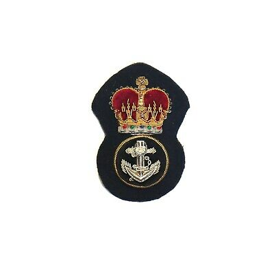 British Royal Navy Petty Officers Cap Badge in Bullion wire -Made in Malta