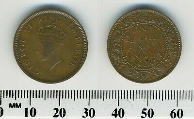 1939 BRITISH INDIA 1//4 ANNA AU//UNC RED BIN #AAA Excellent Scarce Coin