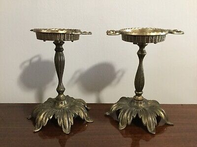 Vintage Brass Pair Ornate Art Nouveau Floral Candlesticks Taper Holders  AS IS