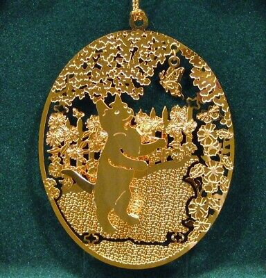 "Kitten 24k Gold Plated Ornament by Kingsheart Forge NOS 3"" x 2.5"""