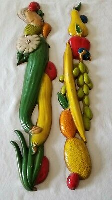 Vtg Fruit & Vegetable Wall Art Midwest Cast Metal Pair MCM Kitchen