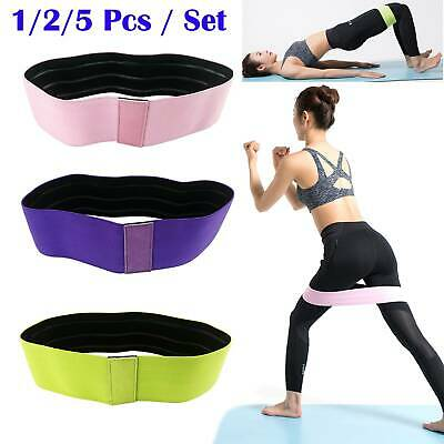 1/2/5Pc Resistance Bands Booty Fabric Glutes Hip Circle Legs Squat Yoga Non Slip