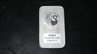 1oz (troy ounce) Silver Bullion Kangaroo Bar Perth Mint 99.99% Fine Silver