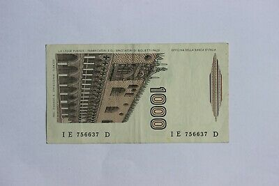 ITALY 1000 LIRE BANKNOTE 1982 Serial # IE 756637 D  (3351930)