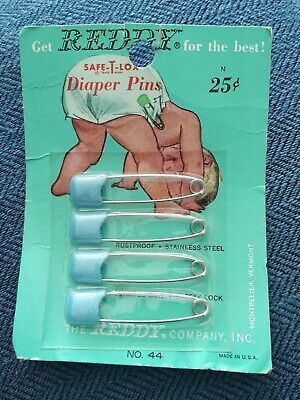 4- REDDY Vintage Baby Diaper Safety Pins for Cloth Diapers Blue in Sealed Pkg