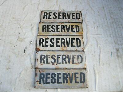 5 Small Enamel Reserved Signs That Came Out Of Vr Carriages Sat Above Seats