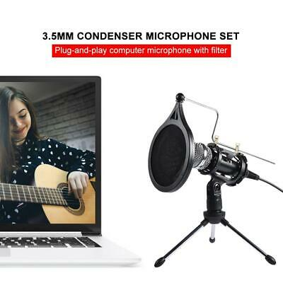 Condenser Microphone Broadcast Recording Kit Computer Filter Tripod Stand Games