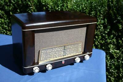 Gorgeous Vintage Mottled Brown Bakelite Philips Valve Radio