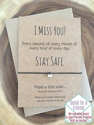 I Miss You Stay Safe Heart Charm Card Family Friendship Wish Bracelet Gift