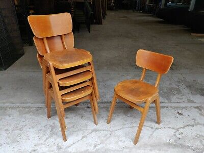 Vintage Wooden Stacking Chairs Chairs - Cafe Bar Restaurant - 20 Available