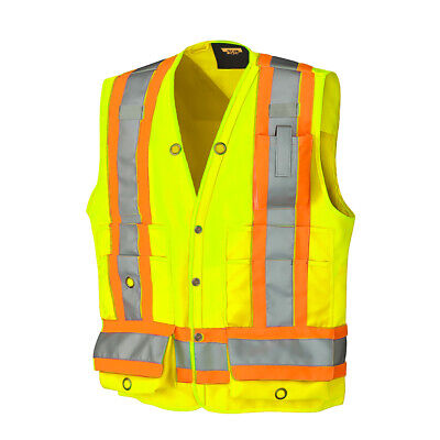DuraDrive Class 2 Surveyor Safety Vest with 4 in Hi-Vis Tape - Utility Pockets