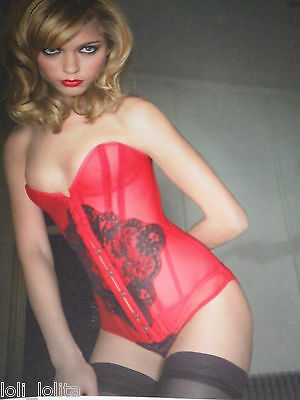 Agent Provocateur Rare Red 'Kate Moss' Lace Corset & Brief Size Medium A/B 32-34