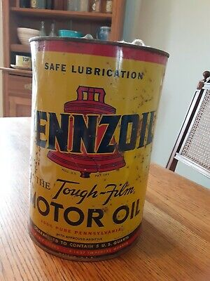 CLEAN Vintage Pennzoil Motor Oil Can Quart QT Tin Metal Empty Petroliana